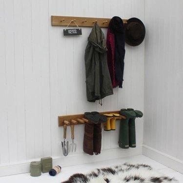 wall-mounted boot storage rack