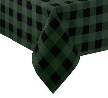 green plaid tablecloth