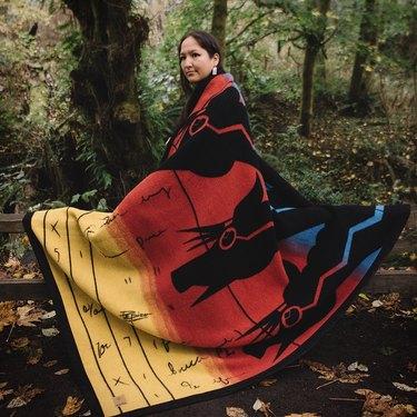 """John Isaiah Pepion """"Lightning Horse"""" Wool Blanket"""