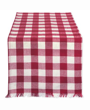 red plaid table runner