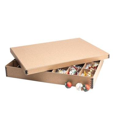 Cardboard ornament storage box with ornaments inside