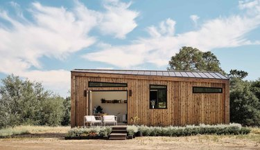 eco-friendly modular home with wood cladding