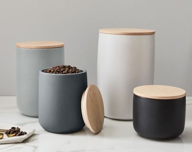 ceramic food storage containers with wood lids