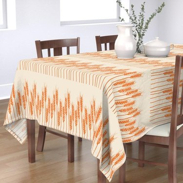 orange and cream fall tablecloth