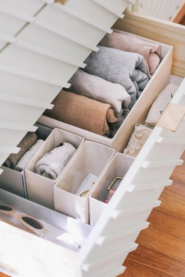 How to Organize Clothes with open dresser drawer with DIY storage boxes