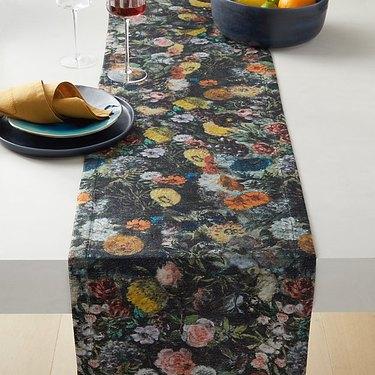 black velvet floral table runner
