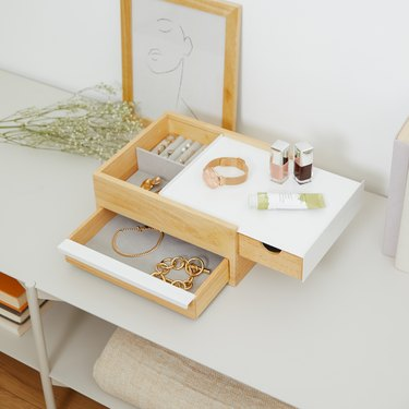 modern jewelry organizer with compartments and drawers