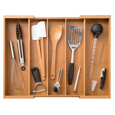 Bamboo utensil drawer organizer with assorted tools