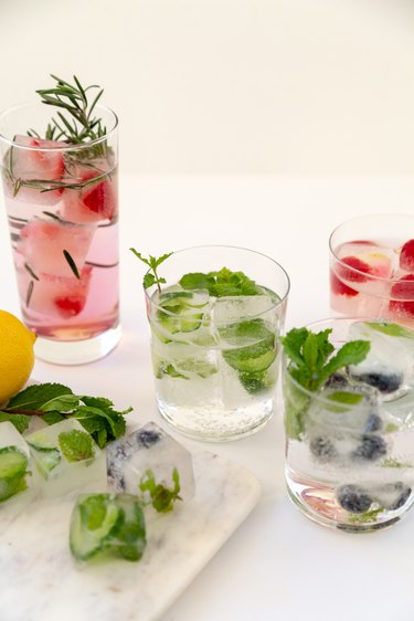 Herb and Fruit Infused Ice Cubes for cocktails