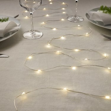 string lights on table