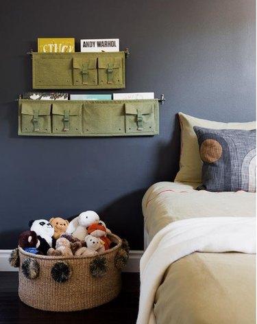 canvas wall mounted kids' book storage idea