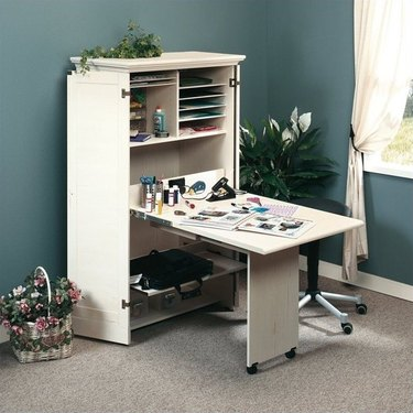 Craft Table with Storage armoire