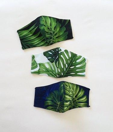 Monstera Leaf print face masks