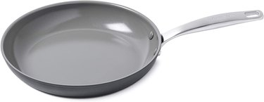 Black frying pan with gray interior and stainless steel handle