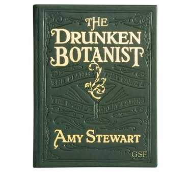 the drunken botanist leather forest green book cover by amy stewart