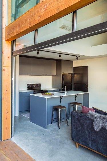 Garage Ideas in modern garage renovation with kitchen