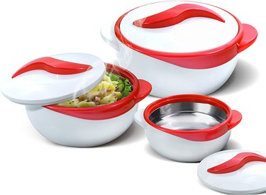 white and red serving bowls with lids