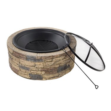 round stone fire pit with cover