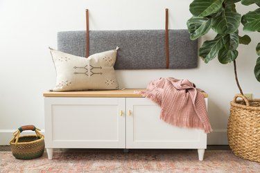 small entryway storahe bench with cushion