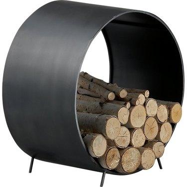black round log holder