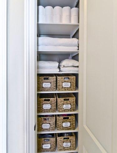 Bathroom closet organization by Organized Living