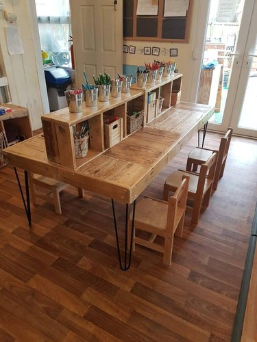 Craft Table with Storage armoire reclaimed wood