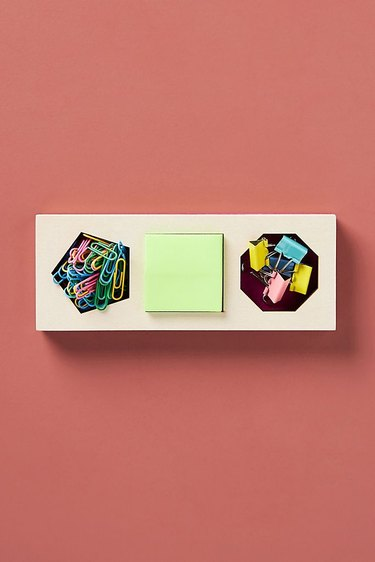 office organization supplies, wood tray with paper clips and stickies