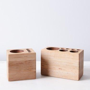 office organization supplies, wooden desk caddy for pens