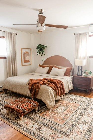 You're ready to enjoy you handmade vintage rug ottoman.