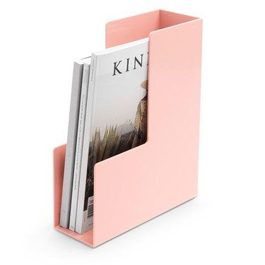 office organization supplies, pink magazine/file holder