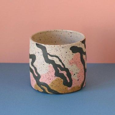 Contemporary Ceramics pink, gray and ochre handmade ceramic plant pot