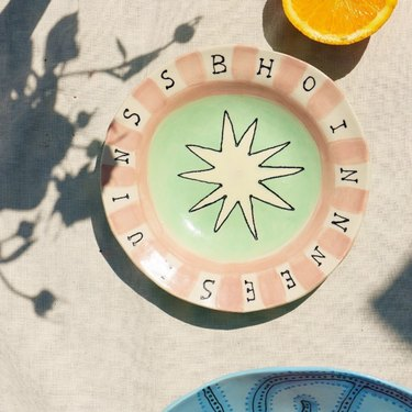 Contemporary Ceramics pink and mint plate with hand drawn illustration