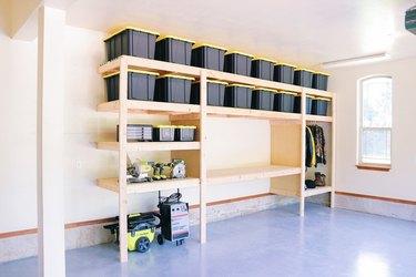 DIY garage organization idea with garage shelving unit