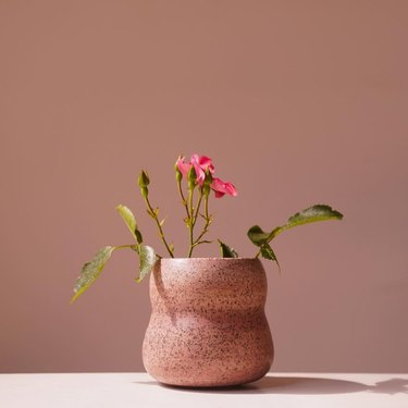 Contemporary Ceramics organic pink speckled ceramic plant pot with pink flowers