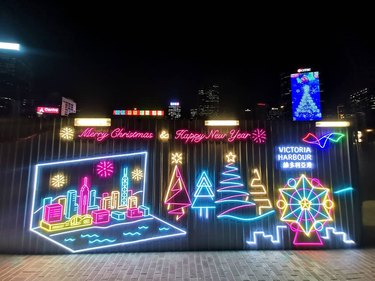 Christmas-themed neon wall installation