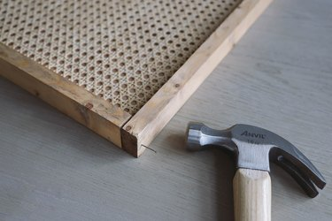 Nailing trim pieces together with finish nails