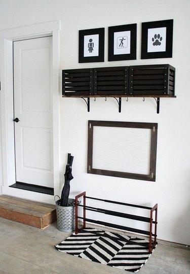 DIY garage organization idea with art and shoe rack