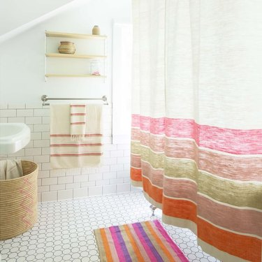 Bolé Road Textiles colorful shower curtain in bright bathroom
