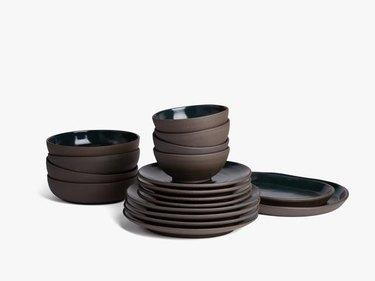 brown and navy cermaic dinnerware set