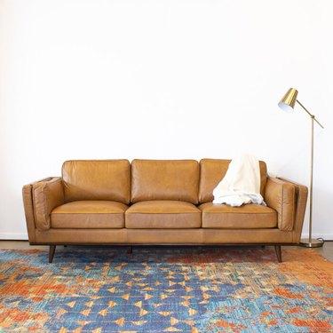"""Corrigan Studio Lesa 88"""" Genuine Leather Square Arm Sofa"""