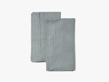 light blue washed linen napkin set
