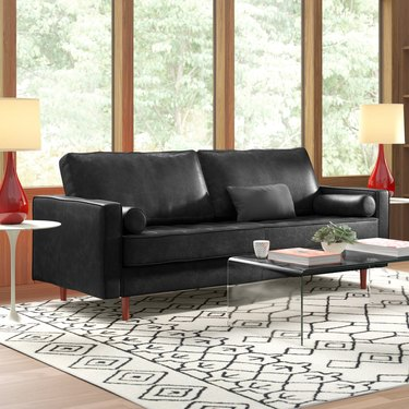 """AllModern Ainslee Leather 88"""" Square Arms Sofa"""