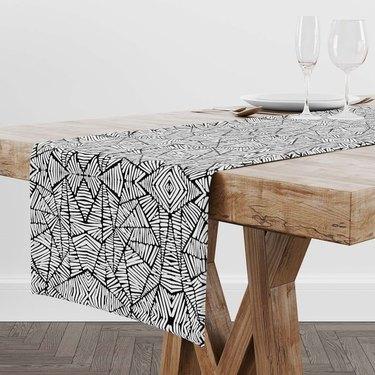 Rochelle Porter Design black and white pattern table runner