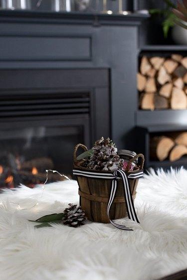 pine cone fire starter kit near fireplace