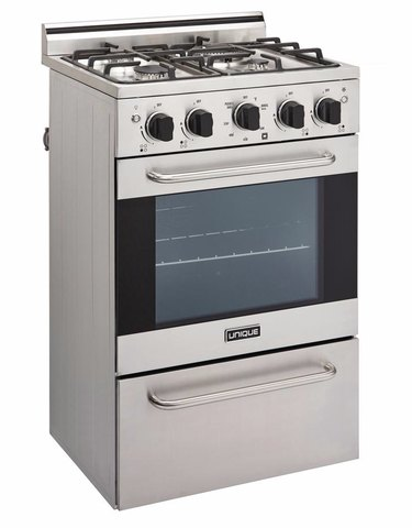 Stainless steel slide in gas range. Small Stove and Oven