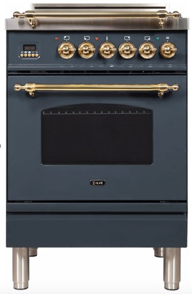 Blue gray gas range with brass trim. Small Stove and Oven