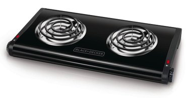 Electric Stove Burner from Black + Decker 2-Burner 12 in. Black Hot Plate with Temperature Controls