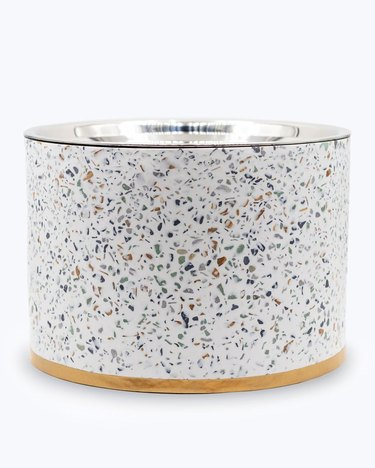 Elevated terrazzo pet bowl