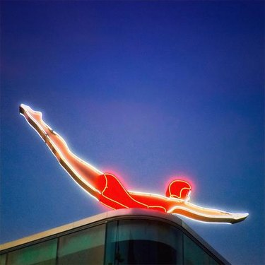 MONA's iconic neon diver sign