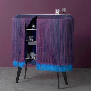 Benoit Convers Blue Fringe Bar Cabinet